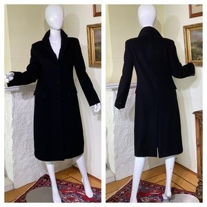 Armani Collezioni Black 100% Wool Fitted Coat